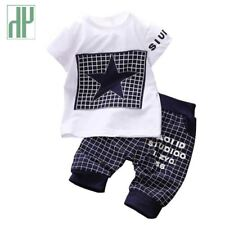 Baby boy sport suits t-shirt+pants suit clothing set Star Printed