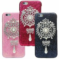 For iPhone 6 6S Lady Shine Crystal Rhinestone pearl Pendant Hard Back Case Cover