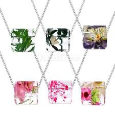Hot Sale Female Transparent Cylindrical Natural Dry Flower Pendant Necklace
