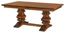 Amish Traditional Pedestal Trestle Dining Table Solid Wood Extending