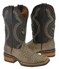 men's sand inlay lizard leather cowboy western overlay boots brown rodeo toe