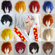 3Short Anime Wigs Straight Hair Cosplay Party Wig Black Brown Blonde Halloween #