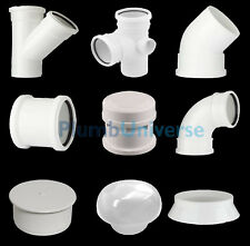 White Soil Pipe and Ring Seal Fittings, Elbow, Tee, Branch Pushfit UPVC 110mm