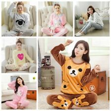 Women Girl Ladies Winter Long Sleeve Velvet Fleece Pajamas Set Pyjamas Sleepwear