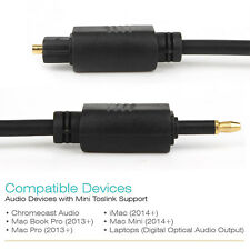 24K Gold Plated Toslink to Mini Toslink Digital Optical S/PDIF Audio Cable US