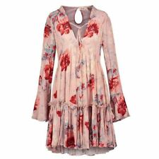 Women Pleated Floral Printed Hollow Flare Sleeve Straps V- Neck Dress