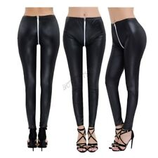Women Faux Leather Stretch Skinny Pencil Pants Leggings Open Crotch Slim Trouser