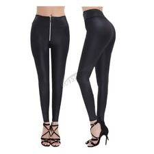 Sexy Women's High Waisted Faux Leather Zipper Stretch Skinny Slim Leggings Pants