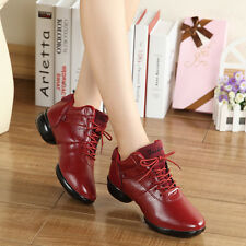 New Fall Fashion Women Leather Lace Up Dance Shoes Jazz Hip Hop Athletic Sneaker