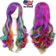 New Long Rainbow Colors Wavy Curly Lolita Hair Full Wig Cosplay Party Costume US