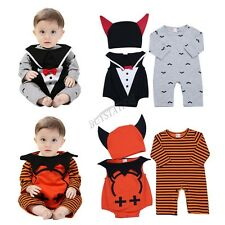 Infant Baby Boys Romper Jumpsuit Bodysuit Halloween Cosplay Outfit with Cap 3PCS