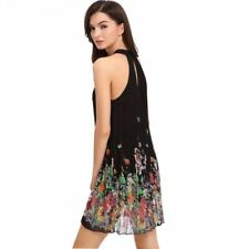 Summer Fashion Chiffon Pleated Floral Print Sleeveless Party Dress For Women
