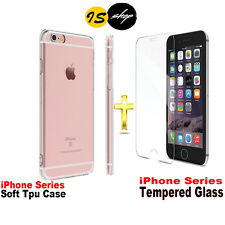 Silicone Clear Soft Gel TPU Case & Tempered Glass For iPhone 7 Plus 6 6S Plus IS