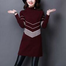 Fashion Korean Women Turtleneck Winter Pullover Sweater Knit Striped Mini Dress