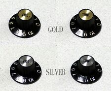 Correct Set of 2 USA Witch Hat Knobs Gold or Silver For Gibson Or Fender