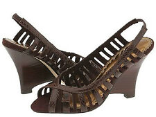 Seychelles Brown Wedge Heel Sandal Strappy Cutouts NEW Star Treatment 10 Slip On