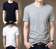 Mens Casual Slim Fit Crew Neck T-Shirts Short Sleeve Muscle Basic Tee Tops 0254R