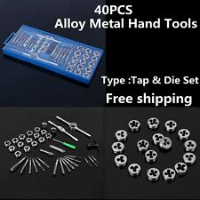 40PC MM METRIC Tap & Die Dies Set Bolt Screw Extractor/Puller Removal Kit Case@F