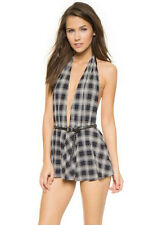 Michael Kors Collection Plaid Plunge One Piece Swimdress Swimsuit  8 NWT