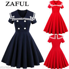Womens Navy Blue Sailor Nautical Pinup Rockabilly Gothic Vintage 50s Swing Dress
