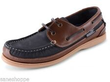 Mens Leather Nubuck Slip On Lace Up Deck Boat Moccasin Gents Shoes