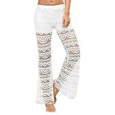 Women See-Through White Color Lace Summer Side Split Casual Beach Long Pant