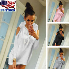 Womens Casual Hoody Hoodie Cold Shoulder Autumn Spring Pullover Sweatshirt USA