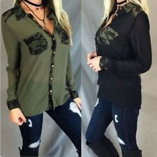Women Button Closure Chiffon Camouflage Blouse Long-sleeved Tops T-shirt