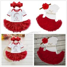 My First Christmas Infant Girl Baby Santa Romper Tutu Dress Fancy Outfit Clothes