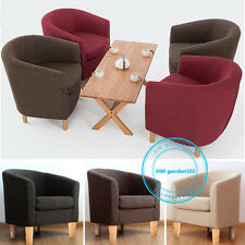 Linen Fabric Tub Chair Armchair Dining Room Modern Office Furniture Lounge Sofa