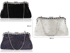 Brand New Ladies Double Sided Beaded Handmade Clutch Bag Handbag Evening Bag