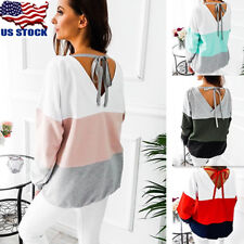 Women's Crew Neck Long Sleeve T Shirt Patchwork Backless Strappy Blouse Tops USA