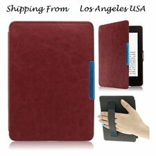 Brown Hand Strap Leather Skin Case Cover For Amazon Kindle Paperwhite/Kindle