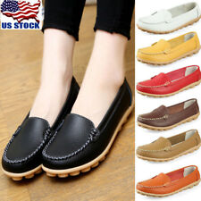 Womens Soft Leather Moccasin Oxfords Loafers Slip On Flat Shoes Ballet Shoes USA