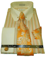 Mens Karl Knox Orange Cream Tan Pin Collar French Cuff Dress Shirt & Tie SX4354