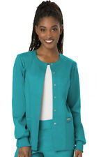Cherokee Workwear Scrubs Snap Front Warm Up Jacket WW310 TLB Teal Free Shipping