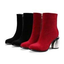 Womens High Heel Side Zippers Suede Leather Winter Party Ankle Boots Shoes Sz@@