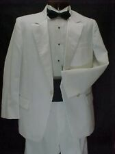 VINTAGE LORD WEST WHITE POLYESTER MENS TUXEDO JACKET or 4pc TUX RETRO PROM