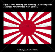 WW 2 Japanese Rising Sun War Flag Army Naval Ensign Styles Printed Vinyl Sticker