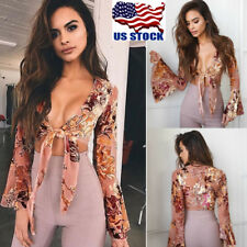 Womens Floral Tie Wrap Long Sleeve Crop Tops V Neck Lace Up Beach Blouse T-Shirt
