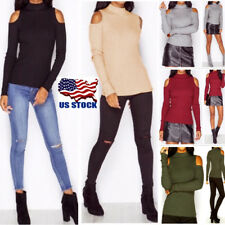 US Women Cold Shoulder Turtle Neck Cut Out Long Sleeve Sweater Tops Blouse Shirt