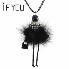 Modern Design Doll Necklace Long Chain Pendant Rhinestone Necklaces Women Girl C