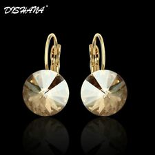 New Fashion Jewelry Gold-color Earring For Women Austrian Crystal Purple Drop Ea