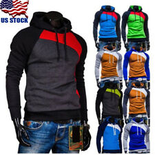Mens Fashion Slim Fit Long Sleeve Hooded Muscle Tops Hoodies Casual T Shirts USA