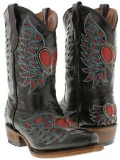 Girls Kids Youth Black Red Heart Wings Western Leather Cowgirl Boots Rodeo Snip
