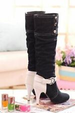 Women Fashion Pointed Toe Solid Color Slip On Mid Calf Casual Boots