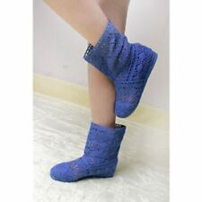 Women Blue Color Spring and Summer High-leg Hollow Ankle Flat Knitted Boots