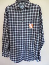 MEN CROFT&BARROW Sz SMALL PLAID OUTDOOR QUICK-DRY FLANNEL SHIRT BRG/GRY/TF $54