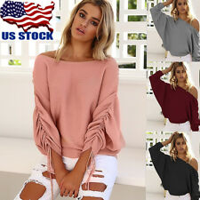US Womens Off Shoulder Baggy Sweater Jumper Tops Ladies Casual Blouse Shirt Top