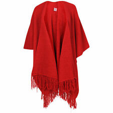 women's  plain red chunky shawl knitted tassel cape ribbed shawl